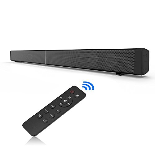 MHHDAL 40 Watt TV Sound Bar Wireless Bluetooth Speaker with Subwoofer for TV and Home Audio Speaker Remote Controller, Wall Mountable and LED Indicator Surface with Mirror Piano Paint