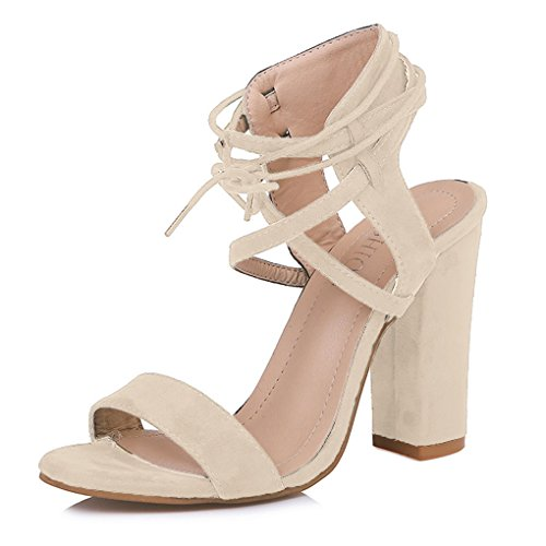 Beige Womens Beach Party Block Ankle Strappy Prom Summer Heel Fashion High Evening Sandals Shoes Casual Sweet Minetom® Ladies TwZ8dT