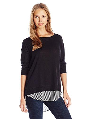 Joan Vass Women's 3/4 Sleeve Sweater With Stripe Silk, Black, 2 (3/4 Sleeve Silk Sweater)