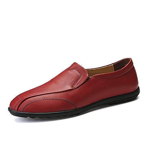 da Oxford un uomo Rosso Rosso Scarpe 41 Uomo EU Leather traspirante Casual Soft Color con Business pedale Xiaojuan Light shoes Pelle Lofer Dimensione qwIPtfBX