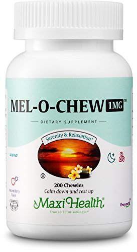 Premium Chewable Melatonin 1MG - Natural Sleep Aid for Children and Adults - Berry Flavor - 200 Chewies - Kosher Certified - Mel-O-Chew by Maxi Health by Maxi Health