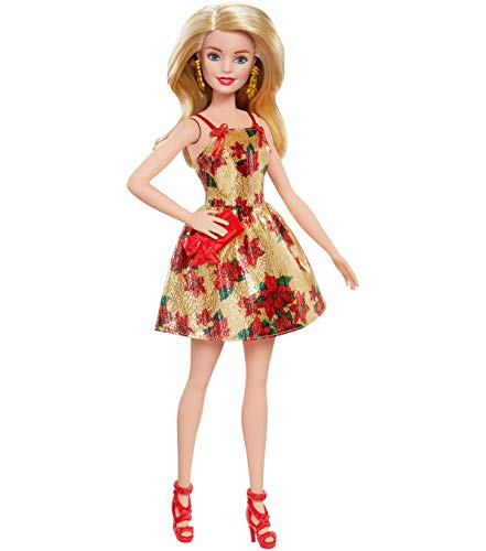 Barbie Christmas Holiday 2018 Doll, Poinsettias and Gold