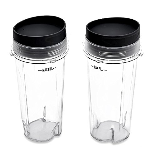 Nutri Ninja 16 oz Cups with 2 Sip & Seal Lids for BL770 BL780 BL660 Professional Blender (Pack of 2) by AMANDAMI