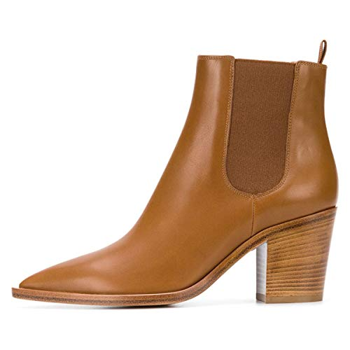 Water Size US Chunky Solid Heels Booties Shoes Ankle Brown Western 4 15 Women FSJ Stacked Proof Chelsea x74TxZ