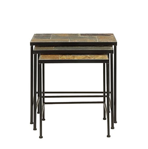 3 Piece Nesting Tables Made of Stone Base Material Metal Use for a Display or Next to Your Sofa or Bed Living Room Furniture by AVA Furniture