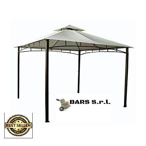 Bars EASYSHOP Gazebo da Giardino 3 X 4 con Telo Impermeabile Ecrù in Metallo e Ferro Grigio Antiruggine e Doppio Tetto Anti Vento Pali Portanti 6×6 cm