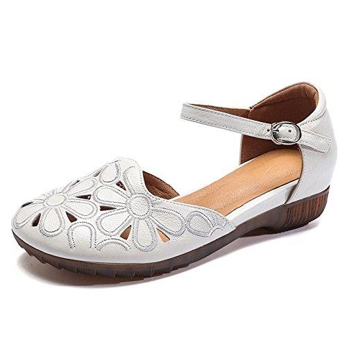 Chaussures en Cuir pour Femmes Printemps Été évider-Out Confort Plat Talon Plat brodé à la Main Chaussures B