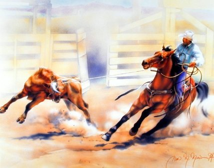 Impact Posters Gallery Wall Decor Western Cowboy Calf Roping Rodeo Horse Riding Picture Art Print (8x10)