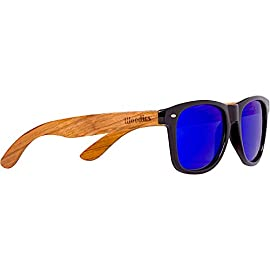 WOODIES Polarized Zebra Wood Sunglasses for Men and Women | Blue Polarized Lenses and Real Wooden Frame | 100% UVA/UVB Ray Protection 4 Handmade from REAL Zebra Wood (50% Lighter than Normal Sunglasses) Includes FREE Carrying Case, Lens Cloth, and Wood Guitar Pick Polarized Lenses Provide 100% UVA/UVB Protection