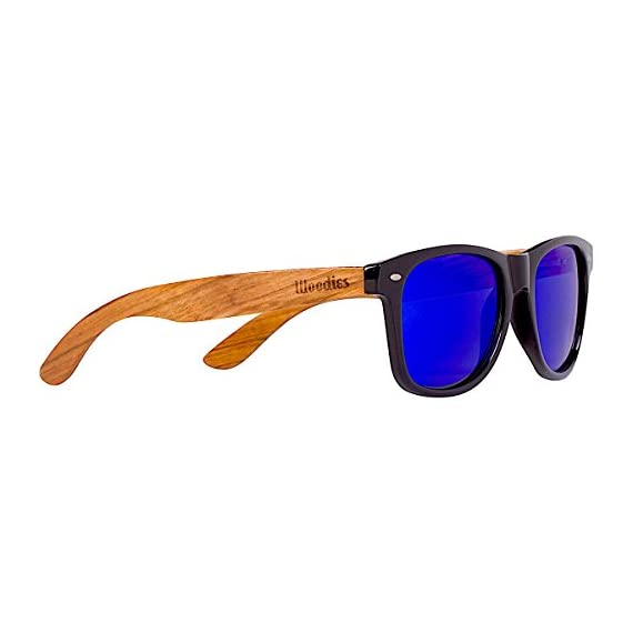 Woodies Zebra Wood Sunglasses with Blue Mirror Polarized Lens for Men and Women 1 Handmade from REAL Zebra Wood (50% Lighter than Ray-Bans) Includes FREE Carrying Case, Lens Cloth, and Wood Guitar Pick Polarized Lenses Provide 100% UVA/UVB Protection