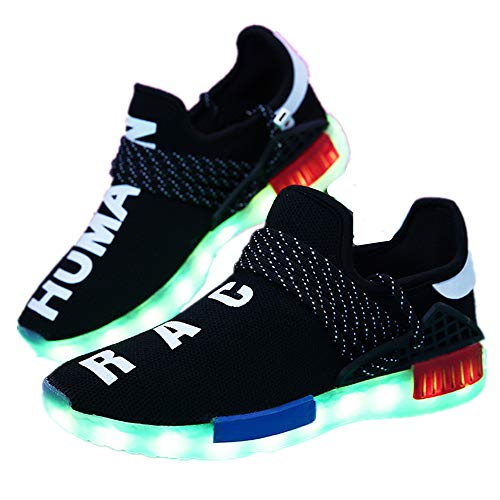 Price comparison product image Fancyww Unisex Colorful Flying Weaving Illuminated Shoes LED Children's USB Charging Skate Shoes(Black-43 / 10.5 B(M) US Women / 9 D(M) US Men)
