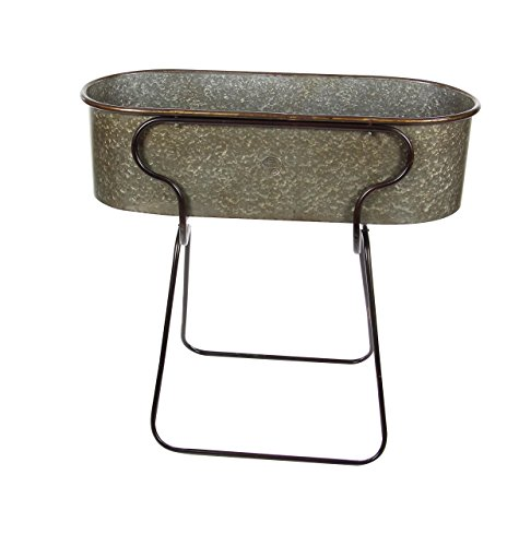 Deco 79 70557 Iron Oval Planter with Stand, 36