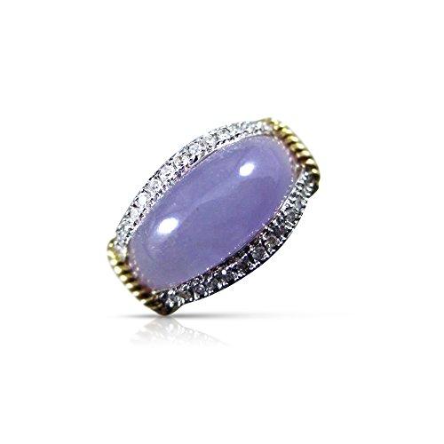 Milano Jewelers WIDE DIAMOND & PURPLE LAVENDER JADE 14K 2 TONE GOLD FILIGREE RING #18217