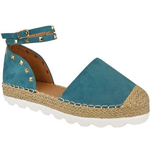 Tachuelas Turquesa de Números Mujer Zapatos Dorado Rock Oscuro Alpargatas Tobillo Verano Tachuela Sandalias Imitación Ante Tiras nHw6vqUH