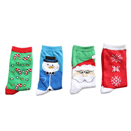 4Pairs Unisex Socks Santa Claus Cotton Adult Middle Tube Couples Wearing Cartoon Festival Socks - Free Size by LUOEM