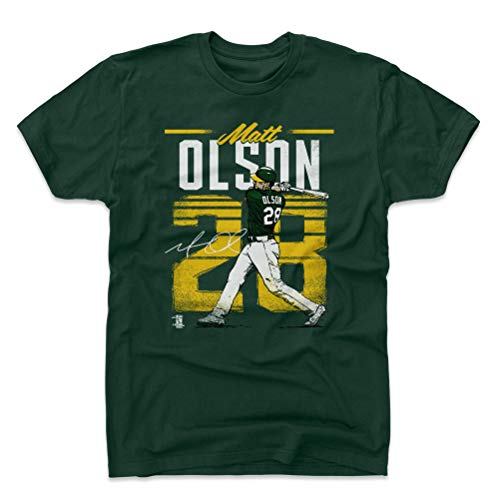 500 LEVEL Matt Olson Cotton Shirt X-Large Forest Green - Oakland Baseball Men's Apparel - Matt Olson Retro Y WHT
