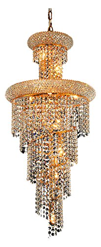 Elegant Lighting 1800Sr16G/Sa Swarovski Spectra Clear Crystal Spiral 10-Light, Three-Tier Crystal Chandelier, Finished in Gold with Clear Crystals