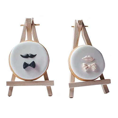 SK 12pcs Mini Wooden Easels Display Stand Photo Painting Display Portable Tripod Holder Stand- 6Inch (Wood) ()