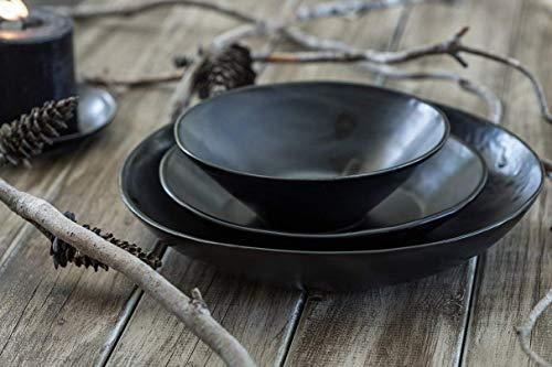 - Black Glazed Handmade Natural Clay Ceramic Dinnerware Set of 3, Modern Design, Dishwasher and food Safe, Artisan Pottery Wedding Gift Idea