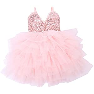 Cilucu Girls Dress Toddler Kids Party Dress Sequin Tutu Pageant Lace Dresses Gown for Flower Girl Baby Rose Gold/Pink Peach 2T-3T