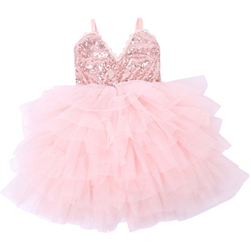 Cilucu Girls Dress Toddler Kids Party Dress Sequin Tutu Pageant Lace Dresses Gown for Flower Girl Baby Rose Gold/Pink Peach 12 Months-2T