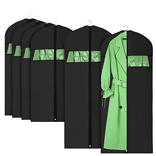 HOMMINI Pack of 6 Hanging PEVA Garment Bags Lightweight, Full Clear Zipper Suit Bag for Closet Storage or Travel Clothes Cover, Dust Cover (42