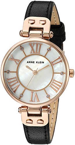 Anne Klein Women's Quartz Metal and Leather Dress Watch, - Leather Pearl Dial Black