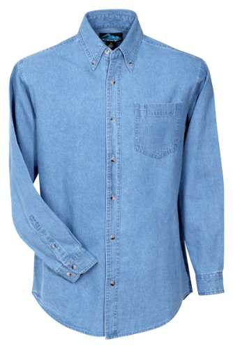Tri-Mountain Men's 100% Cotton Denim Heavyweight Stonewashed (Big Tall Denim Shirts)
