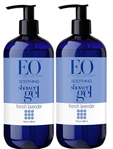 EO French Lavender Shower Gel With Lavender, Coconut Oil, Organic Aloe Vera, Calendula and Vitamin E, 16 fl. oz (Pack of 2) ()