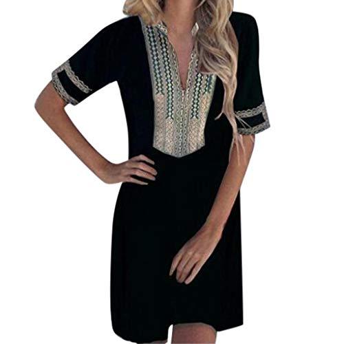 Aniywn Women V-Neck Short Sleeve Printing Patchwork Dress Casual Mini Vintage Linen Dress Black