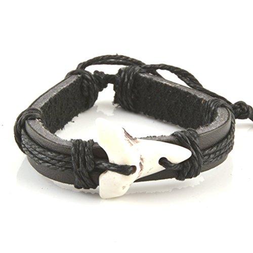HZMAN Shark Tooth Leather Bracelet - Adjustable Cord Surfer Bracelet -