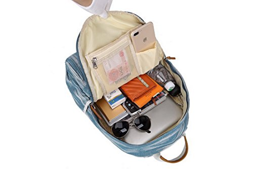 "Acmebon Unisex Vintage Canvas Backpack with USB Charge Port Fashion 15.6"" Laptop Rucksack Retro Blue by Acmebon (Image #4)"