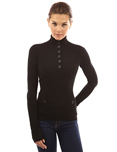 PattyBoutik-Womens-V-Neck-Button-Ribbed-Sweater-Black-M