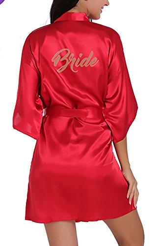 Accappatoio Donna Fashion Elegante Camicia Tinta Rossi Pigiama V Da Saoye Con Cintura Vestaglia Sposa Estivo Scollo Unita Kimono Notte Corto E7dwCRFq