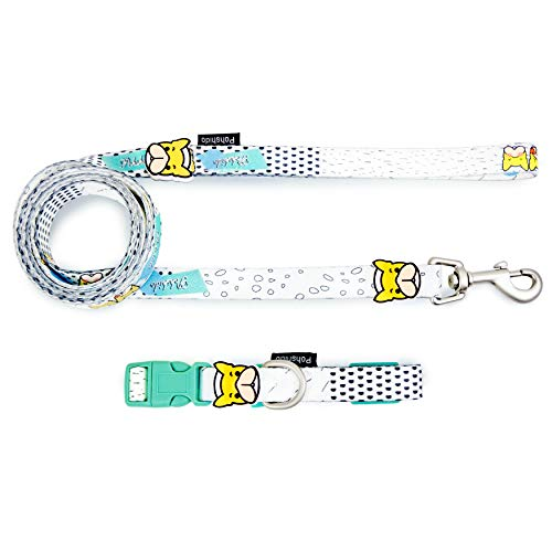 Pohshido Dog Collar with Matching Leash Set White, Puppy Dog Collar and Leash Set for Small Medium Dogs Puppies, Bulldog Decoration Cute Pet Collar for Dogs Heavy Duty 5ft Dog Leash