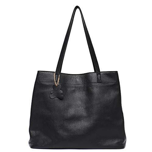 Skin Handbag Cow Leather - STEPHIECATH Women Tote-handbags Italian Cow Leather Women's Vintage Style Soft Leather Work Tote Shoulder Bag Large Capacity Multi Sections Pockets Real Leather Skin Bag(BLACK)
