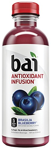 Bai Flavored Water, Brasilia Blueberry, Antioxidant Infused Drinks, 18 Fluid Ounce Bottles, 12 count
