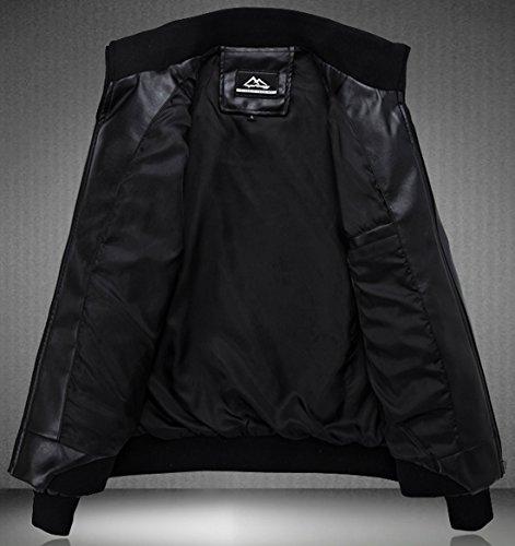 KIWEN Men's Stand Up Collar Faux Leather Jacket Slim Fit,Black,US XS/Tag size: M
