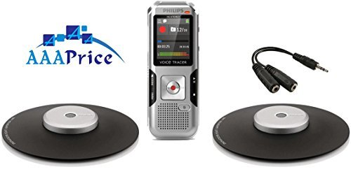 Digital Stereo Conference Recorder Kit with two Omni-Directional Conference Microphone and Carrying Case, ideal for recording Conferences, Meeting, conversations, lectures and interviews,