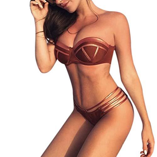 iDWZA Feshion Women Sexy Bikini Set Hot Stampin Sport Swimwear Push-Up Padded Swimsuit(Brown,S) -