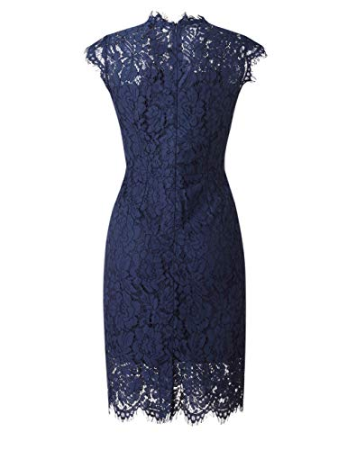 MEROKEETY Women's Sleeveless Lace Floral Elegant Cocktail Dress Crew Neck Knee Length for Party 6