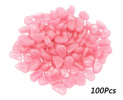Glow In The Dark Pebbles Stones Garden Walkway Aquarium Decor Light 100 Pcs Pink