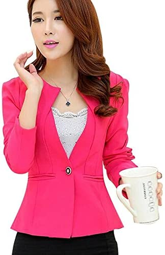 0171cc04d2c Aro Lora Women s Long Sleeve Open Front One Button Slim Fit Jacket Blazer  Coat