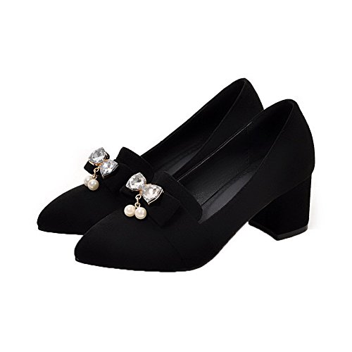 WeenFashion Women's Toe Pointed Black Pumps Solid Pu Shoes Kitten Heels rrTdZw