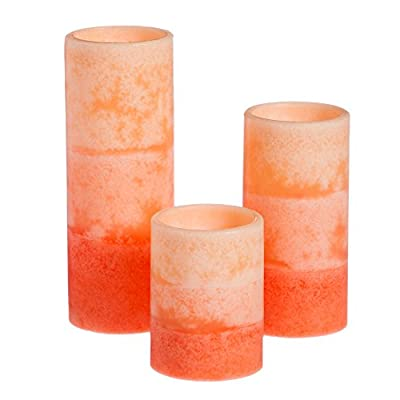 Cypress Home Coral Ombre Battery Operated Flameless LED Wax Pillar Candle with Remote, Set of 3