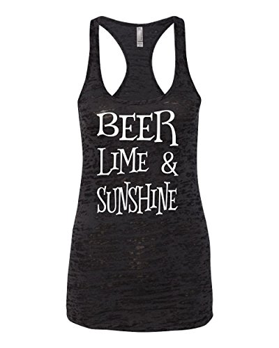 Southern Element Apparel Women's Beach Tank Top Beer Lime and Sunshine Black Large - Tank Element Top Cotton