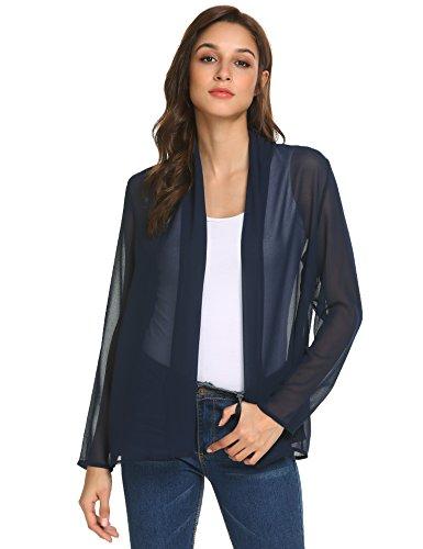Fabulous Sheer - Concep Women Open Cardigan Draped Lightweight Shrug Long Sleeve Sheer Cover Up (Navy Blue S)