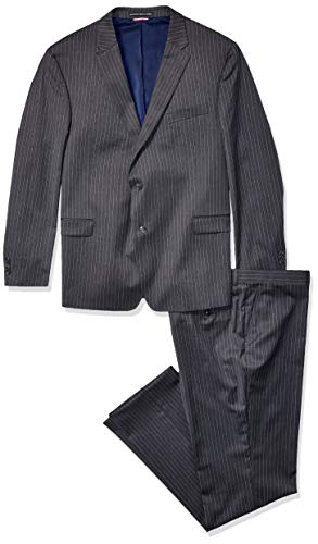 Tommy Hilfiger Men's Modern Fit Performance Suit with Stretch, Charcoal Pinstripe, 36R