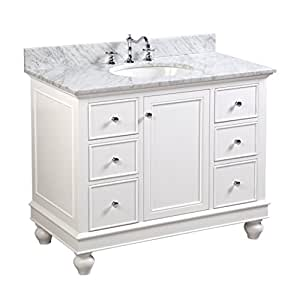 Bella 42 Inch Bathroom Vanity Carrara White Includes A White Cabinet With Soft Close Drawers