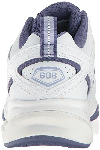 New Balance de las mujeres 608V4comodidad unidades formación cross-trainer Shoe Blanco/Púrpura